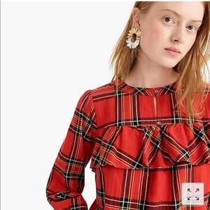 J.Crew Ruffle Top in Festive Plaid